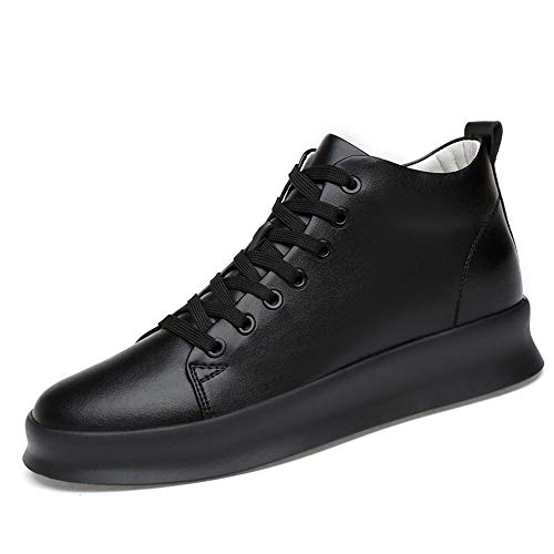 Hilotu High Top Skate Shoes for Men, Comfort Sneakers Elevator Round Toe PU Leather Upper Durable (Color : Black, Size : 6.5 D(M) US)