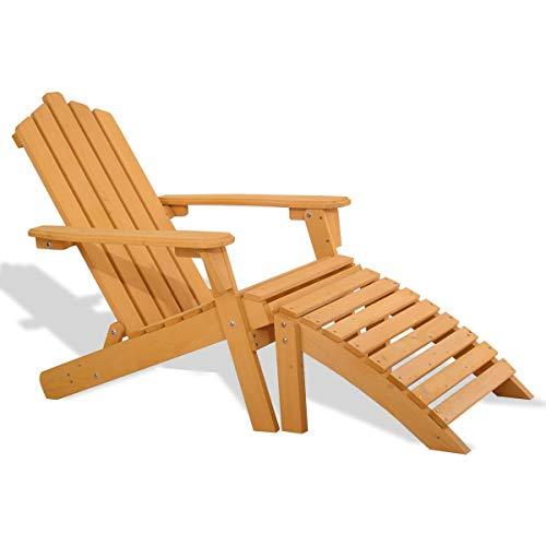 NanaPluz Patio Outdoor Fir Wood Adirondack Chair Beach Lounger w/Detachable Curved Footrest Ottoman with Ebook