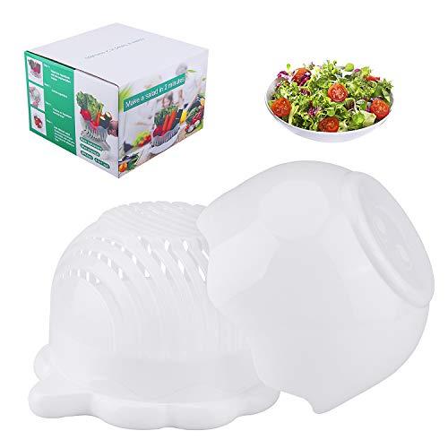 (AIBSI Cutter Bowl, 3 in 1 Fast Fresh Salad Maker Multifunction FDA Approved Vegetable Lettuce Chopper,Easy Fruits Slicer, Best Kitchen Gift Set for Women Men, White)