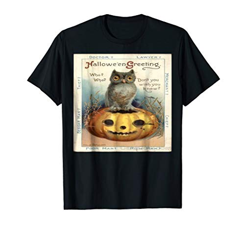 Vintage Retro Halloween Pumpkin Cat Postcard Tee T-Shirt ()