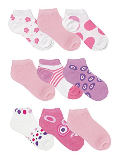 Country Kids Girls' Cotton Rich Low Cut Socks with Stripes Dots Flowers, Pack of 9, Fits 6-10 years (shoe size 12-6.5), Light (Dots Pink Cotton Socks)