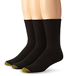 Gold Toe Men\'s Cushion Foot Fluffies Sock - 10-13 / Shoe: 6-12.5 - Black, 3-Pack