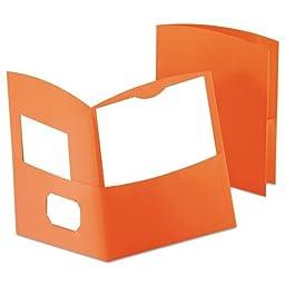 Oxford Contour Two-Pocket Paper Folder, 150-Sheet Capacity, Orange (50625-80)