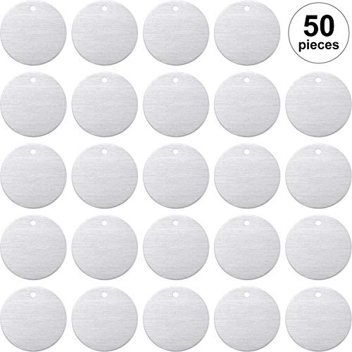 - Stamping Blank Tags, 1 Inch Round with Hole Aluminum 0.06 Inch Thickness Blanks Tags (50)