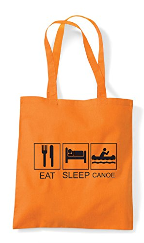 Shopper Canoe Funny Tiles Activity Hobby Sleep Tote Eat Orange Bag q58twHxt