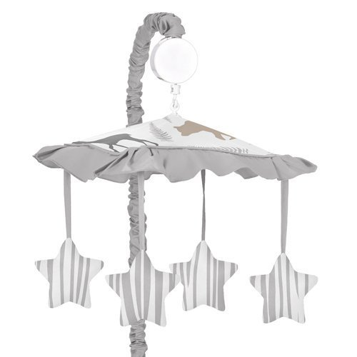 Sweet Jojo Designs Musical Baby Crib Mobile for Blue Grey and White Woodland Animals Collection