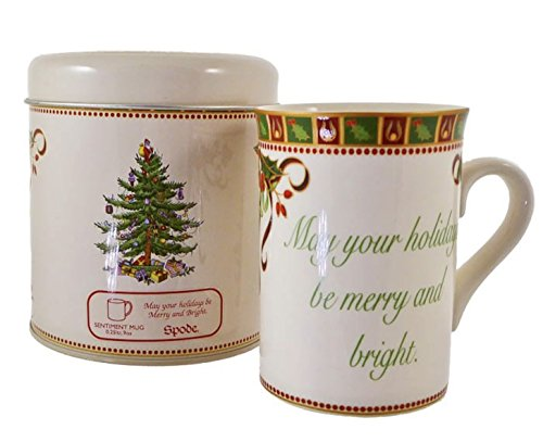 Spode Christmas Tree Sentiment Mug, May Your Holidays Be Merry And Bright