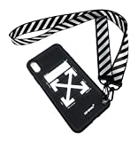 NCANGU Off White Black case Compatible with iPhone case with Strap (iPhone Xs Max)
