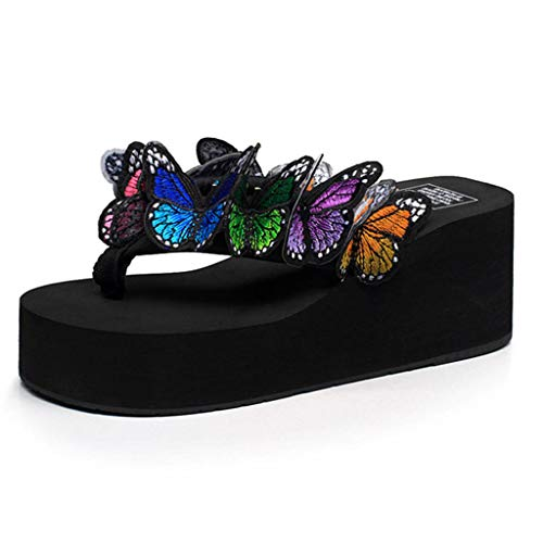 Women Black Wedges Slippers, lkoezi Girl Butterfly Pinch Beach Shoes Thick Bottom Sandals Slippers Floral Wedges Flip Flops Beach Shoes