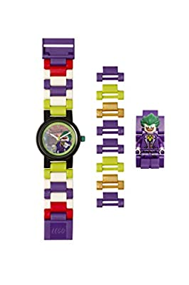 Lego Batman 8020851 The Joker Kids Minifigure Link Buildable Watch | Purple/Green | Plastic | 27.5mm case Diameter| Analog Quartz | boy Girl | Official from LEGO CLOCKS WATCHES