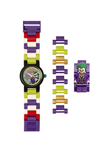 Lego Batman 8020851 The Joker Kids Minifigure Link Buildable Watch | Purple/Green | Plastic | 27.5mm case Diameter| Analog Quartz | boy Girl | Official