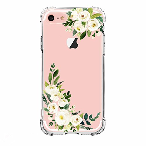LUOLNH Compatible iPhone 5 case, iPhone 5s Se Case Flowers, Slim Shockproof Clear Floral Pattern Soft Flexible TPU Back Cover -White Flower