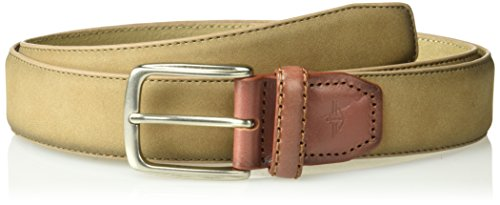 Dockers Men's Suede Belt with Leather Tab-tan, Medium