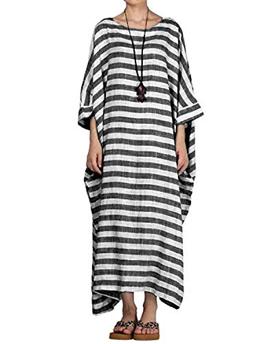 Classic Caftan - Celmia Women's 3/4 Sleeve Round Neck Solid Loose Long Maxi Dress Cotton Gown with Side Pockets Dark Grey 5XL