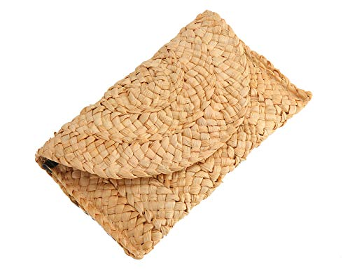 Straw Clutch Summer Evening Handbag Beach Purse Woven Straw Bag ()