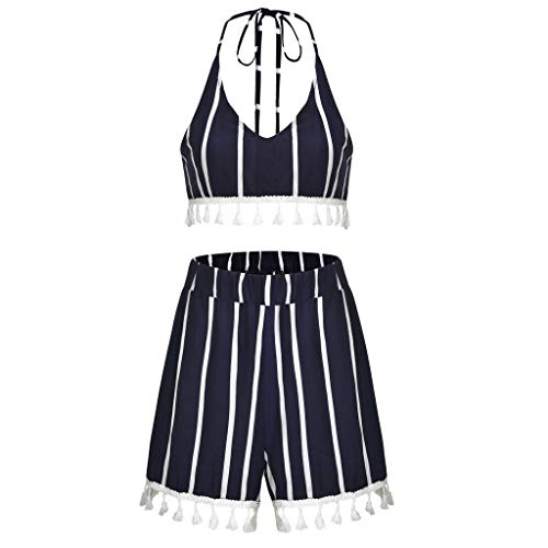 iYYVV Sexy Womens Printed Sleeveless Bndage Vest Blouse + Shorts Two-Piece Outfit Navy