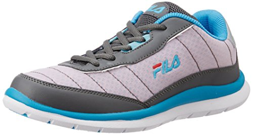 Fila Women's Nozzo Grey, Light Pink and Light Blue Running Shoes -5...