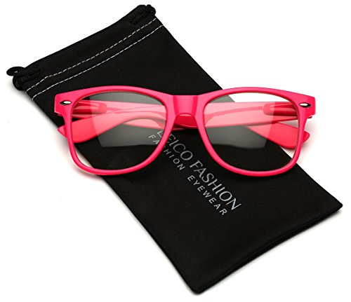 Iconic Square Horn Rimmed Clear Lens Retro Glasses (Hot Pink, ()