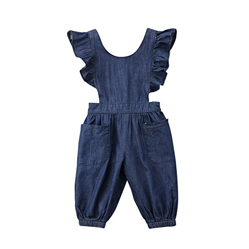 Honganda Kids Toddler Baby Girl Ruffle Backless Denim Romper Jumpsuit With Pockets Overalls (Denim, 2-3 (Little Girl Boutique Outfits)