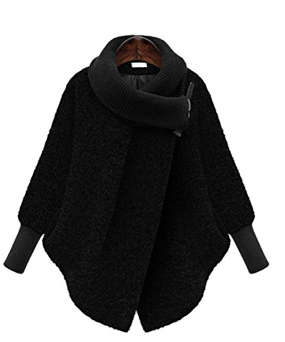 Murciélago Invierno Suelta de YOGLY Mangas Lana Chaqueta Negro de Talla Alto Abrigos Cuello Abrigo Mujer Grande ABqB10ng