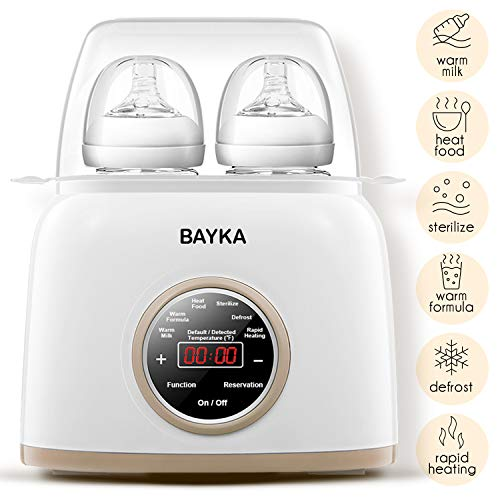 Bottle Warmer & Sterilizer, BAYKA 6-in-1 Baby Bottle Warmer with Rapid Heating Warm Milk Formula Heat Food Defrost, Real-time Temperature Accurate Temperature Control Fit Most Brands Baby Bottles from BAYKA