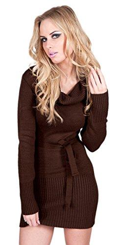 Zeta Ville - Pulóver túnica vestido mini de punto cuello alto - para mujer 358z Marrón