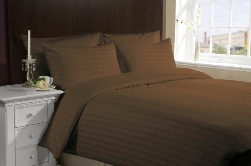 ITALIANO acabado funda de edredón 800TC algodón egipcio de rayas by Lacasa Bedding, Chocolate, California King