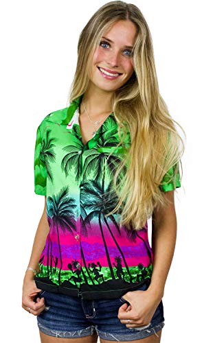 King Kameha Funky Hawaiian Blouse Shirt, Shortsleeve, Beach, Green, XS ()