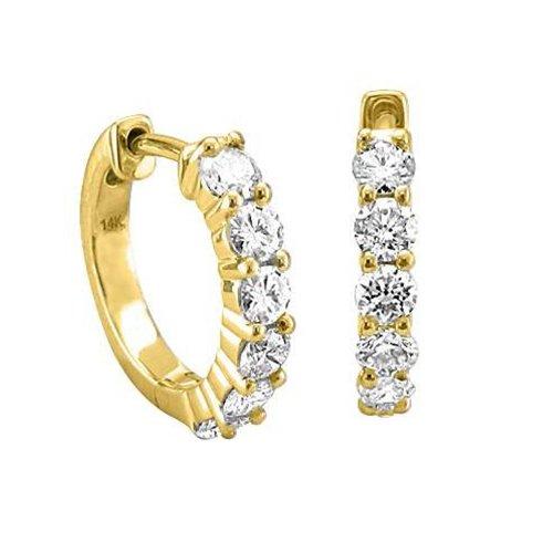 IGI Certified 14k Yellow Gold 6 Stone Hoop Diamond Earrings (3/4 carat)