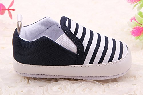 YICHUN suave bebé zapatos prewalker cuna zapatos Rayas infantil con forma de zapatos de ocio zapatos de suela azul marino Talla:Outer Sole Length:12cm/4.7 inches azul marino