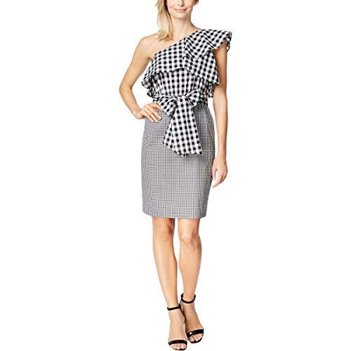 Calvin Klein Womens Mini One Shoulder Party Dress B/W 16 Black/White