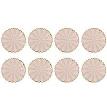 MonkeyJack 8xStripes Party Paper Plates Gold Edge Plates Wedding Birthday Tableware 7in - Pink