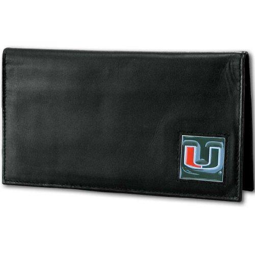 NCAA Miami Hurricanes Deluxe Leather Checkbook Cover - Miami College Leather