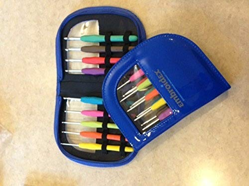 Embroidex 9 Pc Ergonomic Crochet Hooks Needles - Color Coded - Non Slip Cushioned Handles In Beautiful Case by Embroidex (Image #2)