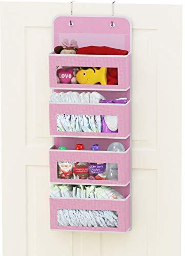Simplehouseware Over Door/Wall Mount 4 Clear Window Pocket Organizer, Pink