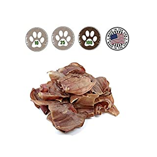 Top Dog Chews Pig Ears for Dogs Full Uncut 100 Pack