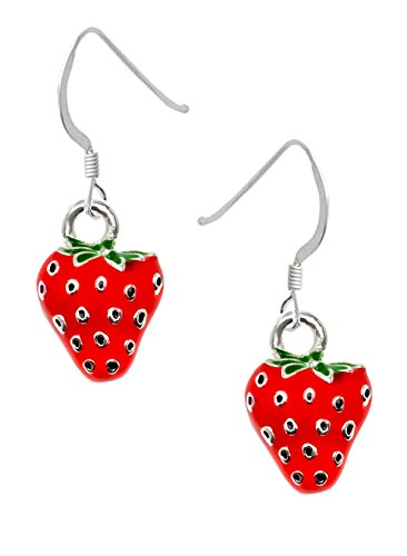 Silver Plated, hand enameled, Strawberry Earrings, Qty.1 pair ()