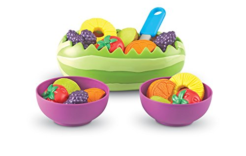 Learning Resources New Sprouts Fresh Fruit Salad Set, Pretend Play Food, 18 Piece Set, Ages 18 mos+ (Play Food Vegan)