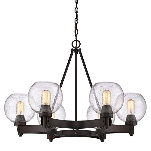 Rbz Rubbed Bronze Chandelier (Golden Lighting 4855-6 RBZ-SD Galveston 6-Light Chandelier in Rubbed Bronze with Seeded Glass)