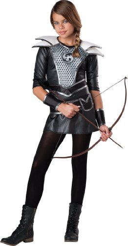 InCharacter Costumes Tween Midnight Huntress Costume, Silver/Black, (Katniss Everdeen Costume Dress)