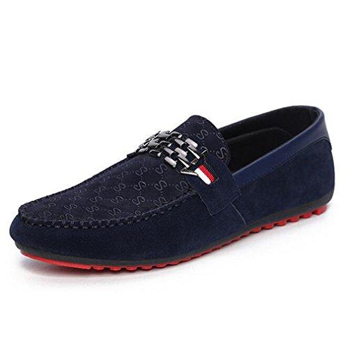 Nubuck Stud - HBBCBB Men Loafer Shoes Trendy Nubuck Leather Slip-On Loafers Vintage Casual Flat Shoes Blue 8.5