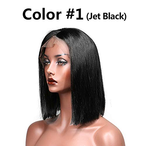 Betterluse Bob Lace Front Human Hair Wigs With Baby Hair Hair Straight Short Wig For Black Women ()