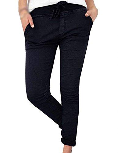 Fashion Monocromo Per Giovane Donna Women Yasminey Slim Pantaloni Pantaloni Accogliente Pantaloni Donna Pantalone A Coulisse Elastico Trousers Con Matita Libero Tempo Eleganti Grazioso Nero 4wRwvpOq