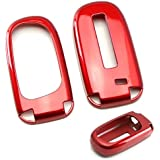iJDMTOY 1 Exact Fit Glossy Sparkling Red Smart Key Fob Shell Cover For 2014-up Jeep Cherokee