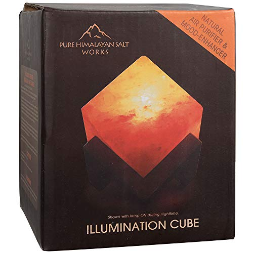 Pure Himalayan Salt Works Illumination Cube, Pink Crystal Salt Lamp with Neem and Hand-Stained Mounted Base, Includes 15W Bulb and Toggle On/Off Switch, 6
