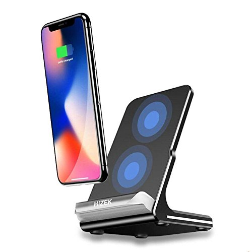 Wireless Charger, Hizek 2 Coils Qi Fast Charger Charging Station 2A Tilt Cellphone Holder for All QI-Enabled Devices, iPhoneX, iPhone8/8plus/Galaxy Note8/S8/ S8 Plus/S7/S7Edge/S6Edge Plus(Black)