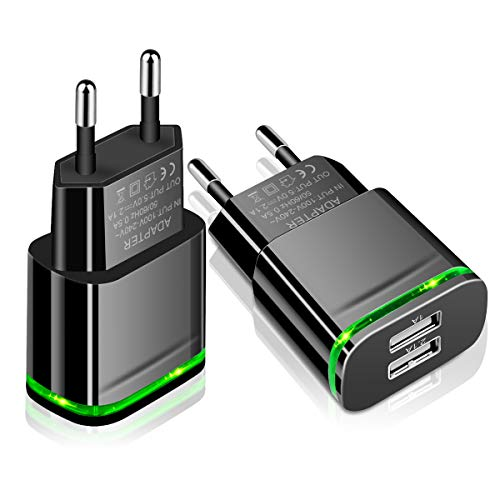 European Plug Adapter, Niluoya Universal Travel Charger 2-Pack 2.1A/5V Europe Dual USB Wall Charger Power Adapter for iPhone X 8/7/6/6S Plus 5S, iPad, Samsung Galaxy S8/S7/S6 Edge, HTC, LG, Moto