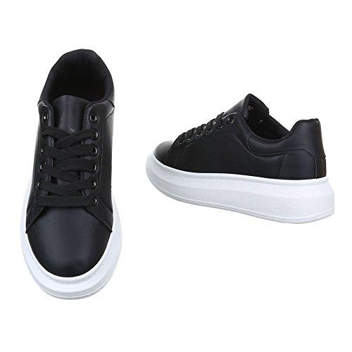 Ital-Design Damen Schuhe, KA620B, Freizeitschuhe Sneakers Schwarz