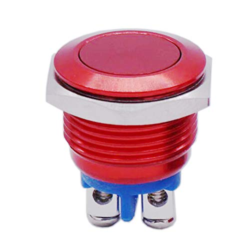 Twidec / 16mm Waterproof Red Metal Shell Momentary Flat Push Button Switch 3A/250V AC SPST 1NO Start Button for car Modification Switch M-16-R-P ()