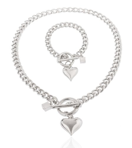 JOTW Silvertone Heart Pendant with a 21 Inch Cuban Nail Toggle Link Necklace with a Ma (B-2491)